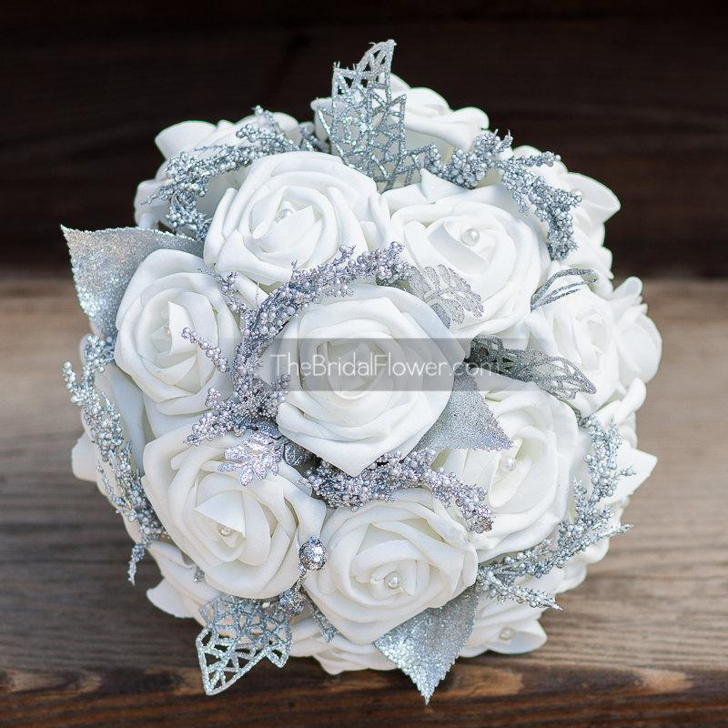 Hochzeit - Winter wonderland small white and silver bouquet for bridesmaids maid of honor with realistic looking roses, and silver accents and pearls