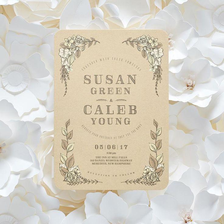 Wedding - Rustic Affair - Signature White Wedding Invitations In Sea Glass Or Boysenberry