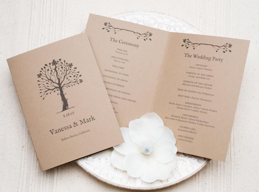 Printable Wedding Program Template, DIY Wedding Programs, Instant ...