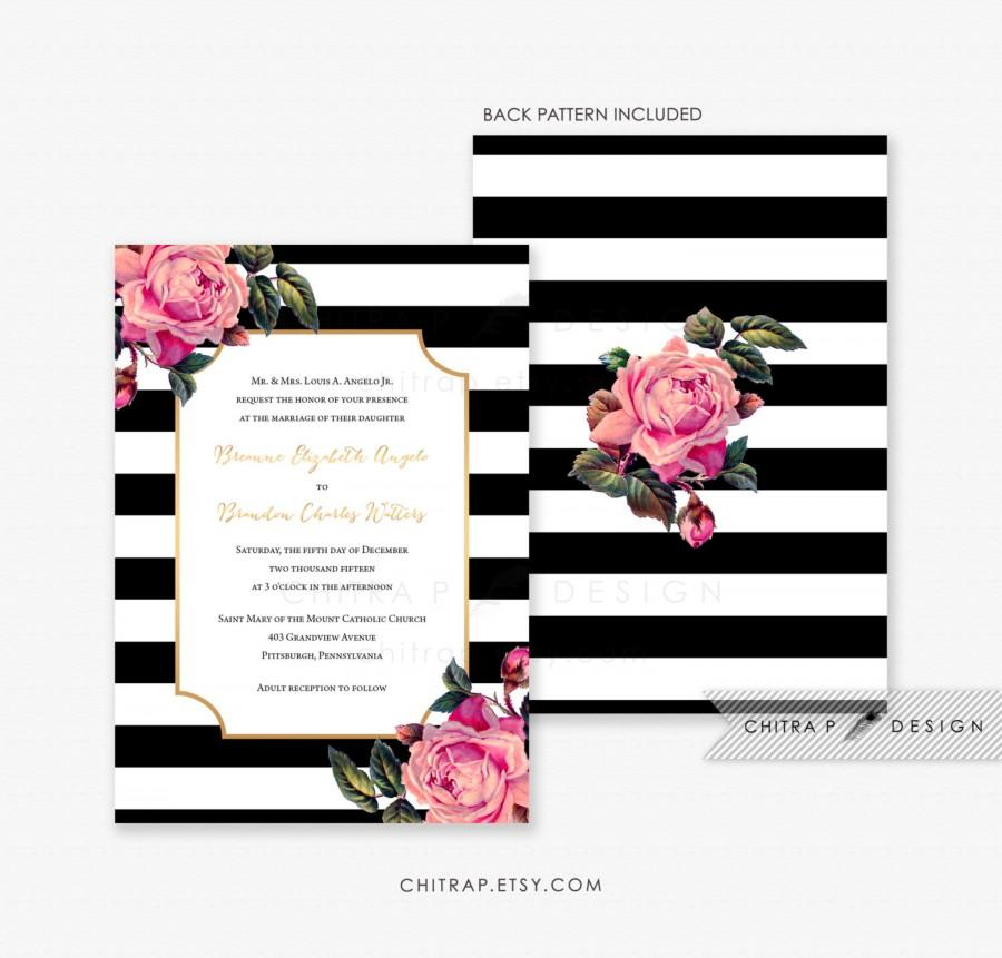 Black White Wedding Invitation Printed Pink Gold Fl Invite Rose Striped Modern Formal Kate Engagement Party Winter Boho Bridal