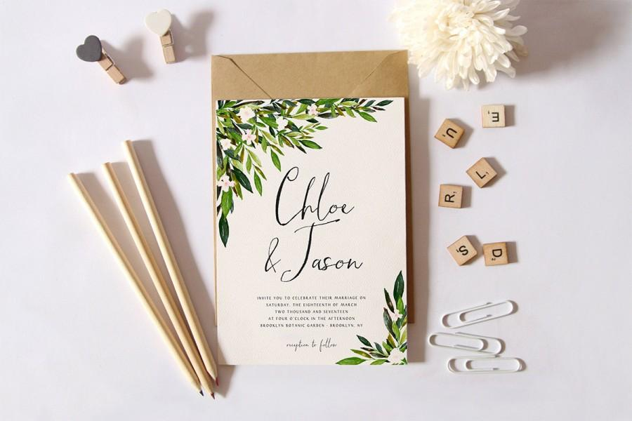 Printable Wedding Invitation SetSimple Wedding InvitationGarden