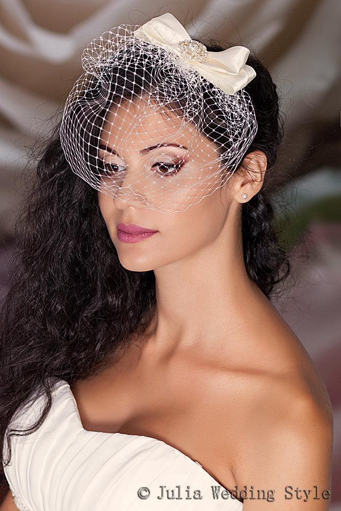 Hochzeit - Birdcage Veil with Silk Bow, Blusher Veil, Satin Bow, Wedding Veil, Small Birdcage Veil