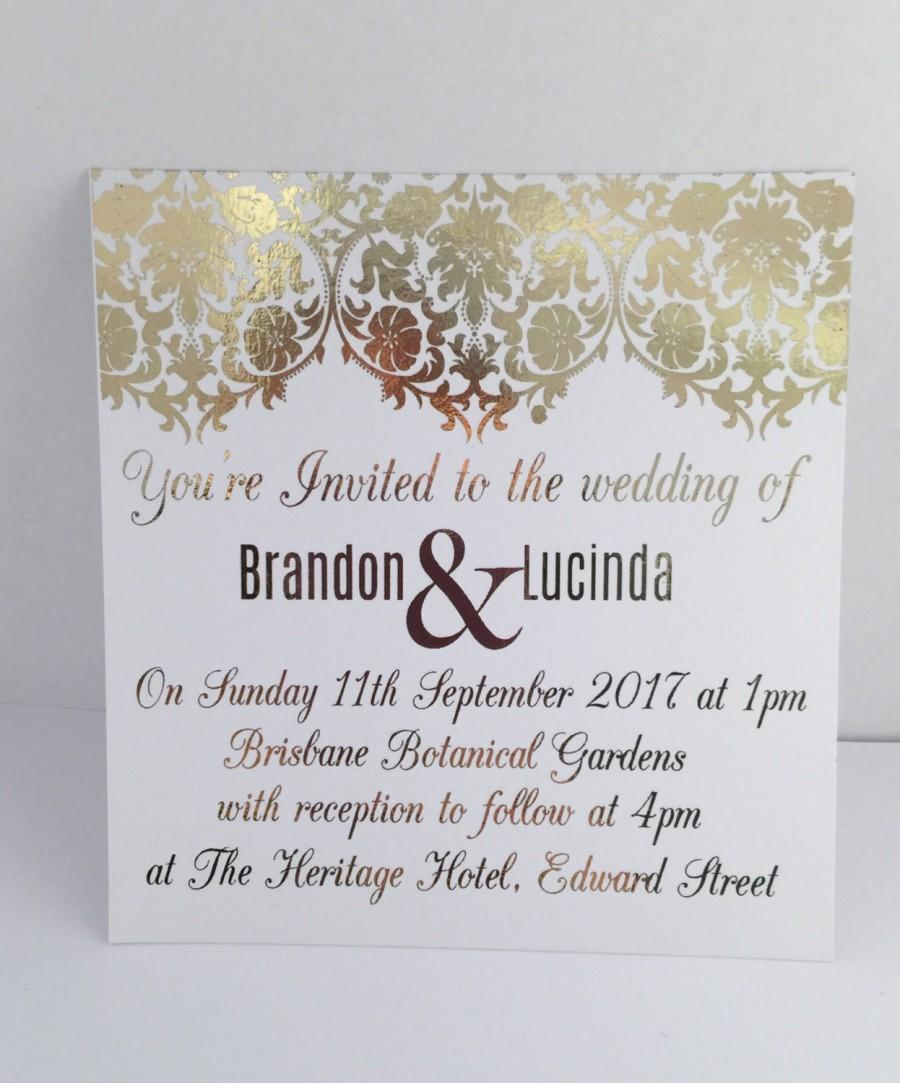 gold foil wedding invitation set with rsvp card sample damask