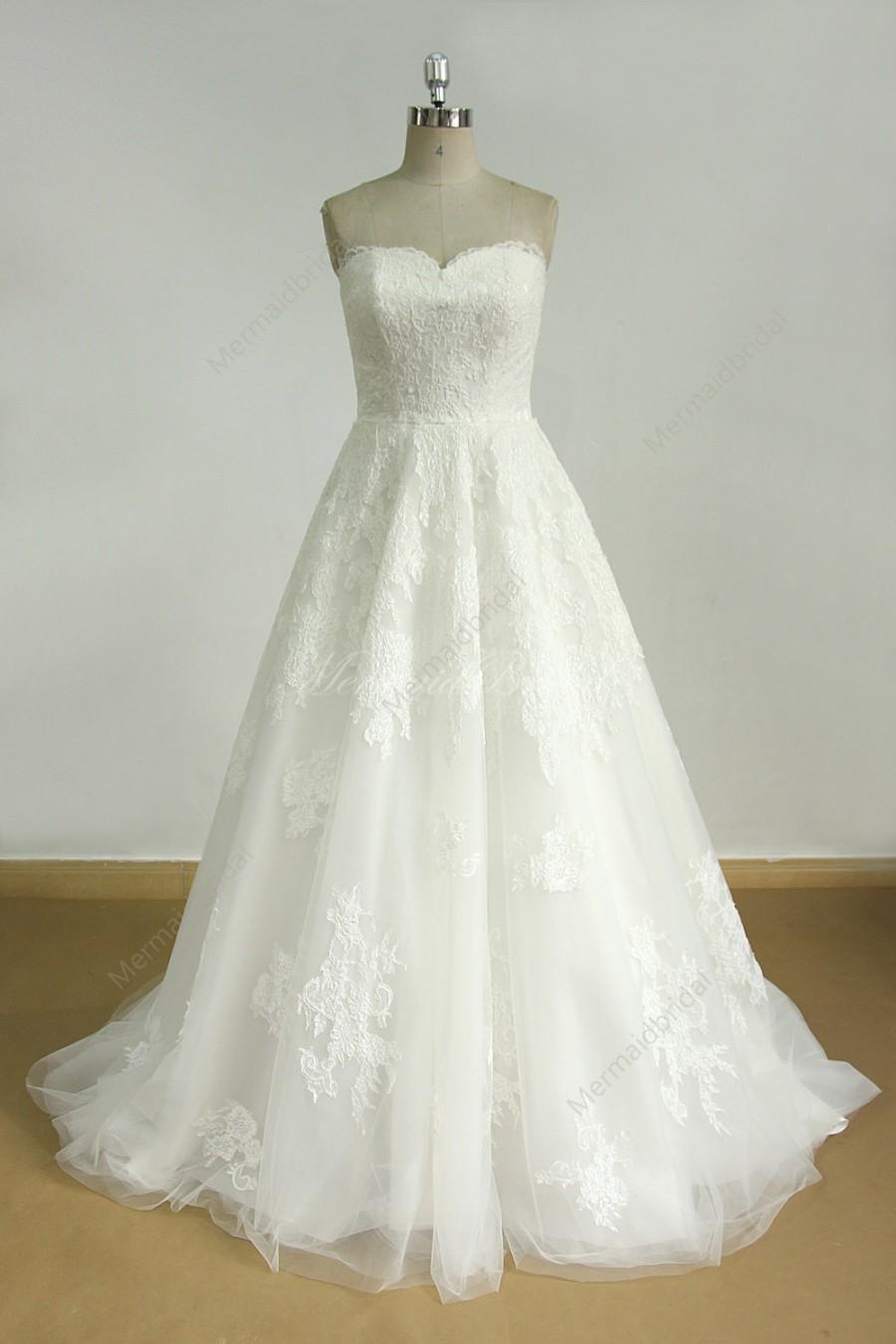 Wedding - Ivory a line tulle lace wedding dress with detachable beading sash