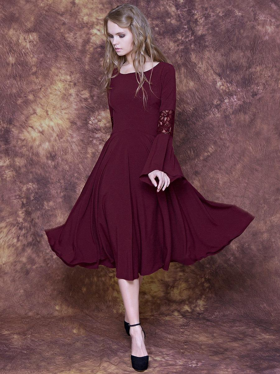 Tea Lenght Burgundy Dress With Bell Sleeves And Lace Bridesmaid Sleeve Marsala Birthday