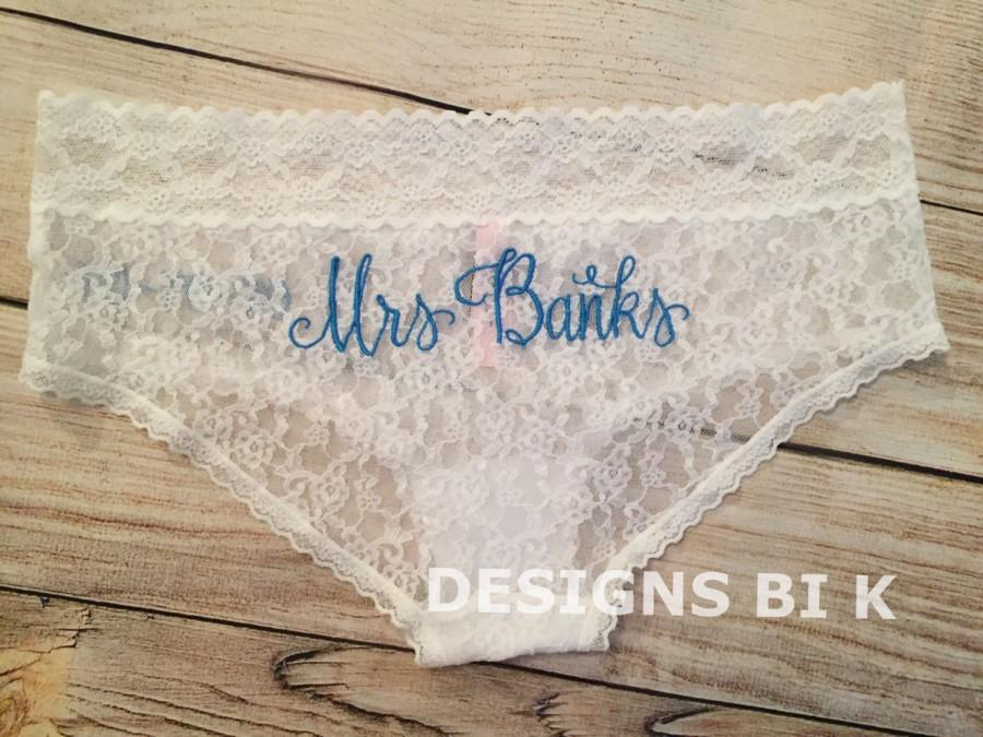 d3ced48645c1 Monogram lingerie, Bridal underwear, Wedding panties, Bridal panties,  Personalized underwear, Bridal lace panties, Custom hiphugger panties