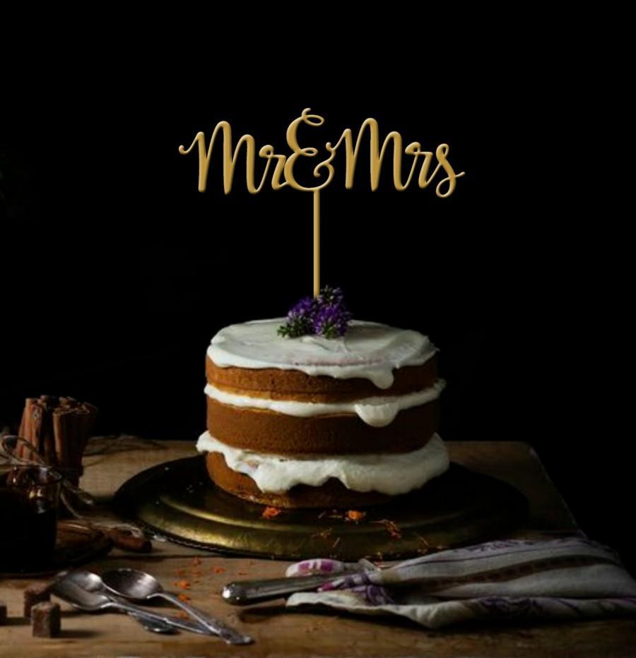Свадьба - Mr and Mrs Cake Topper - Wedding Cake Topper - Mr & Mrs Gold Cake Topper - Keepsake Cake Topper