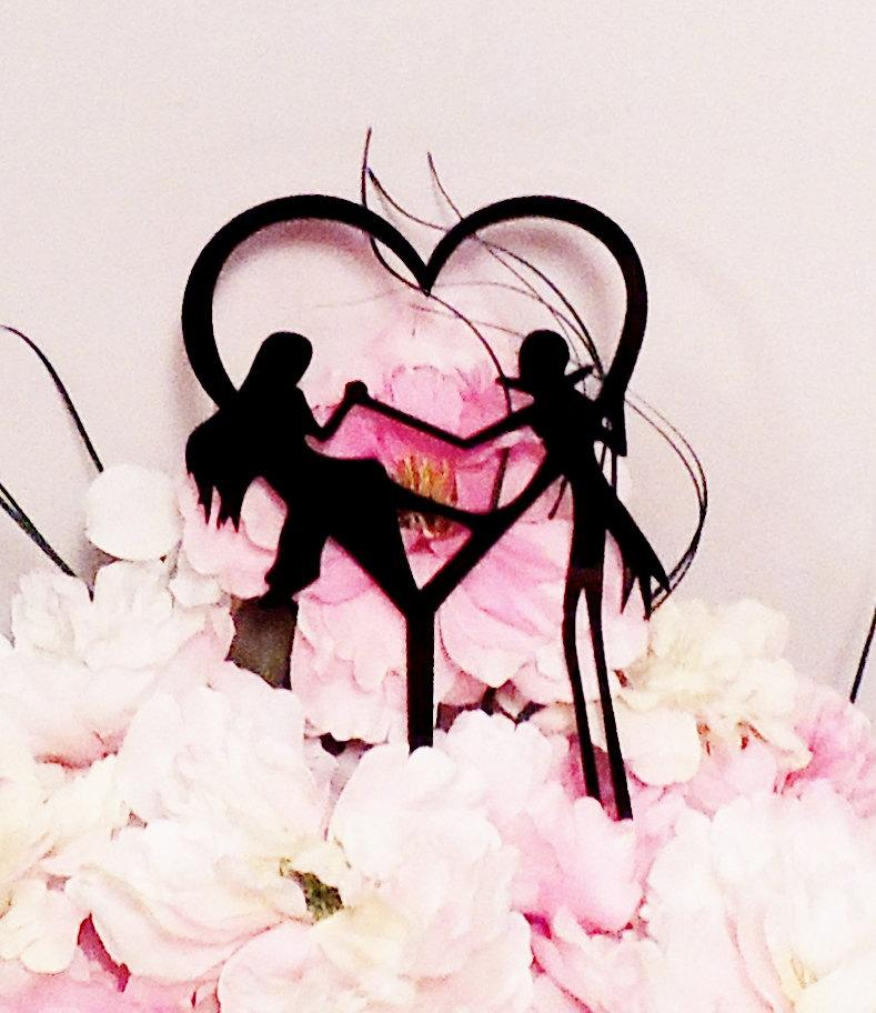 Mariage - Jack and Sally Heart Wedding Cake Topper