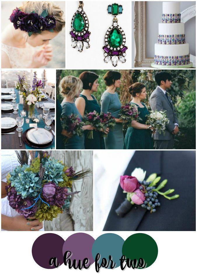 Eggplant Teal And Emerald Jewel Toned Wedding Colour Scheme