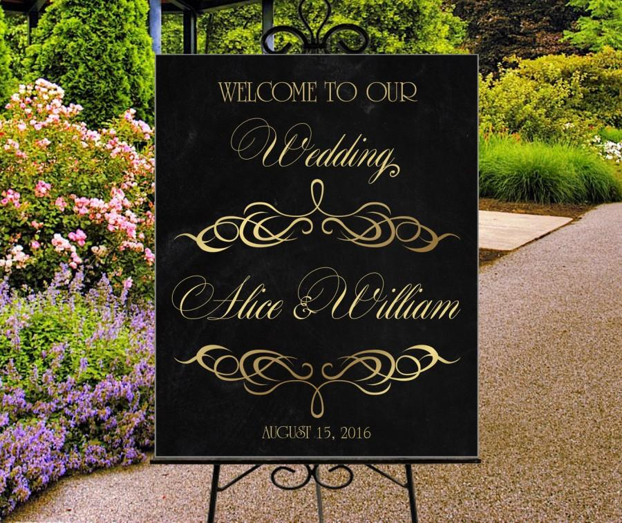 Mariage - Wedding welcome sign, printable personalized sign, gold and chalkboard sign, reception entrance poster, DIGITAL sign, large wedding sign