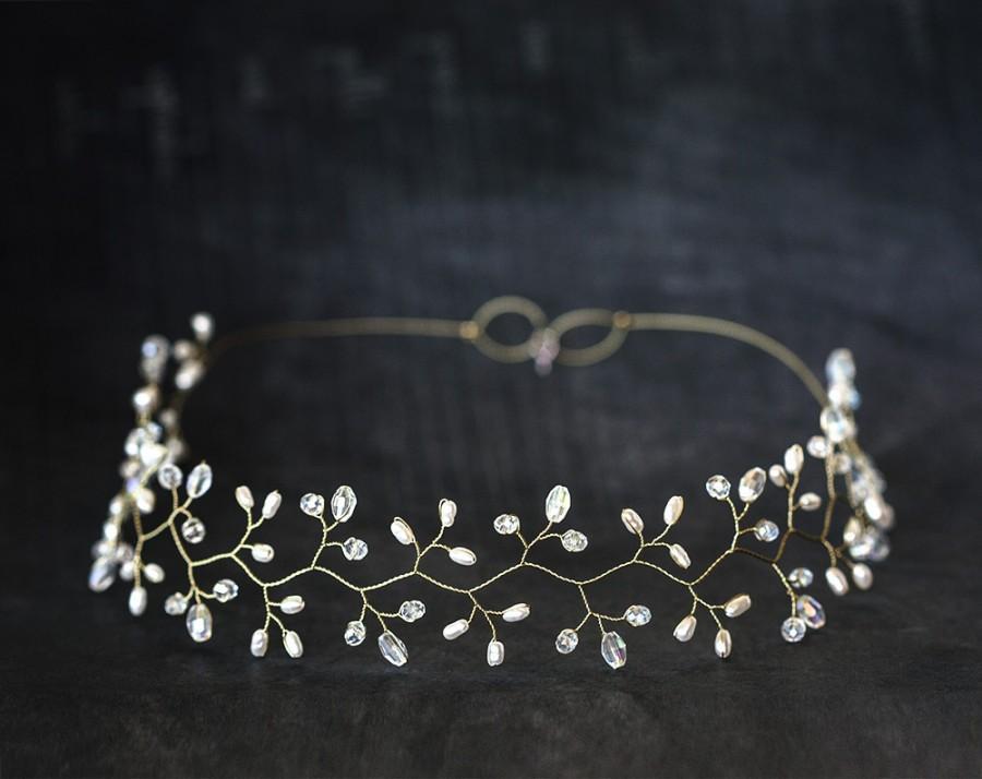 Wedding - Gold headpiece, Crystal diadem, White Pearl tiara, Wedding diadem, Bridal headpieces, Diadem, Hair accessories, Hair vine, Greece halo, Tiaras