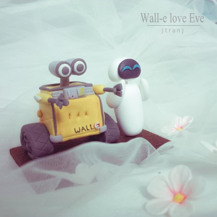 Свадьба - Wedding Cake Topper Wall-e and Eve. Clay Figurine, Clay Miniature