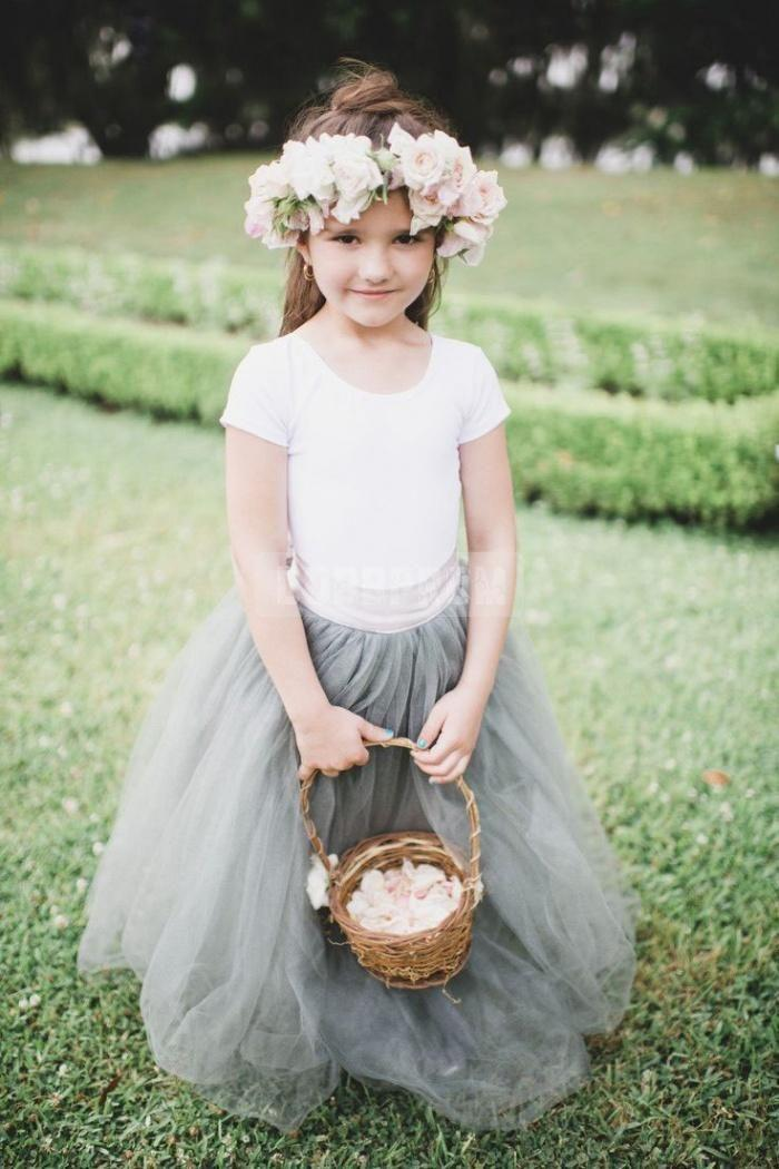 Wedding - Tulle Ball Gown Sash Unique Flower Girl Dress