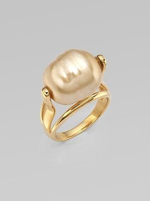 Mariage - Majorica - 16MM Baroque Champagne Pearl Ring