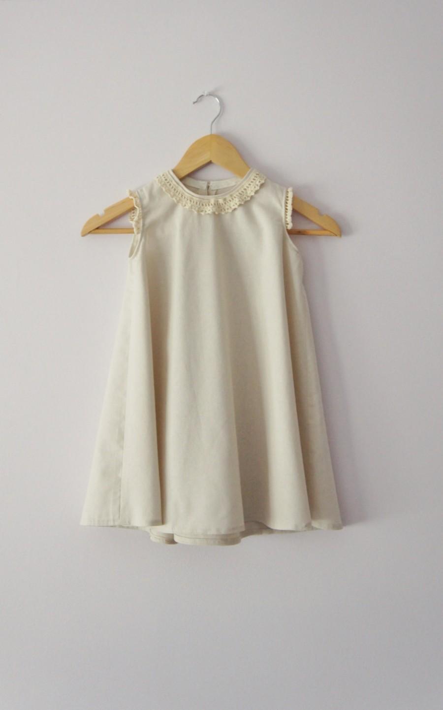 زفاف - Flower Girl Dress, Linen Dress, Ivory Dress, Birthday Dress, Baby Infant Toddler Dress, Bridesmaid Dress, Sleeveless Dress, Fall wedding