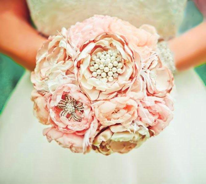 Fabric flower brooch bouquet vintage wedding optional feather fabric flower brooch bouquet vintage wedding optional feather trim pink ivory champagne peony roses in any color mightylinksfo