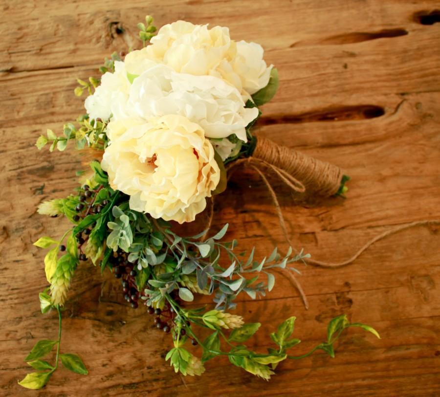 Свадьба - Rustic Peony Wedding Bouquet and Ivory Cascade