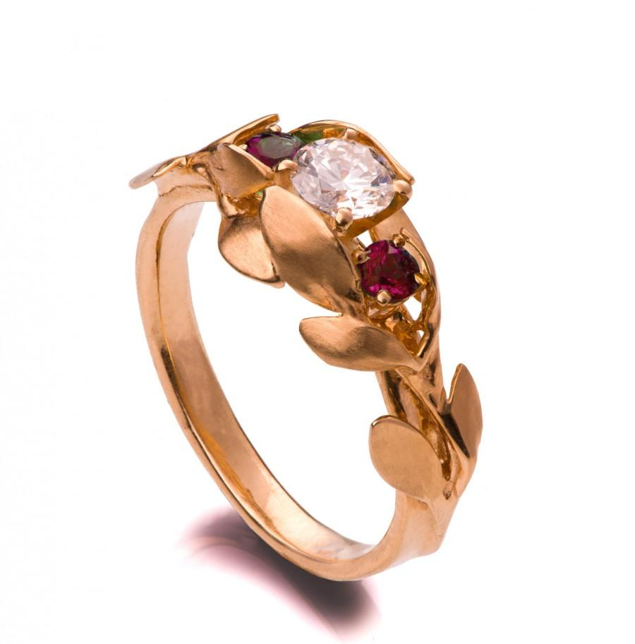 Hochzeit - Leaves Engagement Ring - 18K Rose Gold and engagement ring,July Birthstone, Three stone ring,engagement ring,leaf ring, Ruby,Conflict free,8