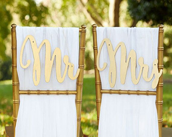 Свадьба - Mr Mrs Chair Sign Classic Gold Silver Bride And Groom Chair Signs Wood Gold Wedding Reception Chair Signs Set