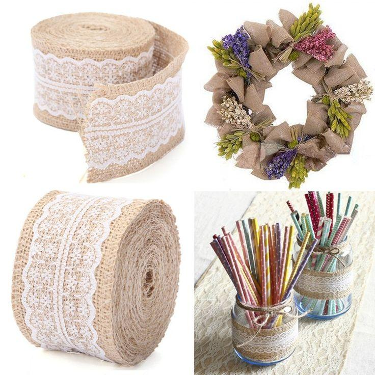 Mariage - 2015 New Arrival 5M Vintage Natural Jute Burlap Hessian Ribbon Lace Trim Table Wedding Decor-in Festive & Party Supplies From Home & Garden On Aliexpress.com