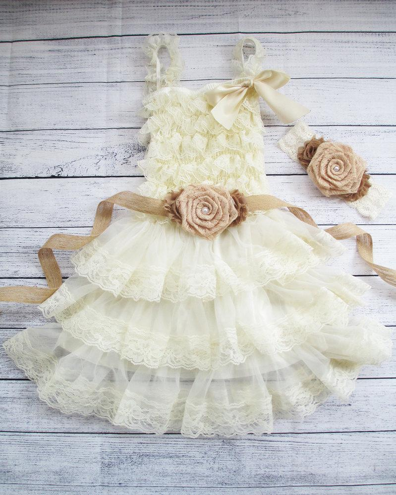 Burlap Rolled Lace Flower Girl Dress Sash Set Country Chic Dress