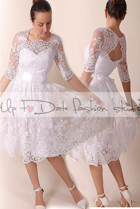 Wedding - Lace  Short Wedding dress / Portrait back Recepion /knee length/ lace dress/ Bridal Gown 3/4 sleeve