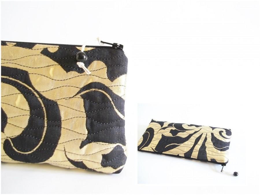 Mariage - Shiny Wedding Clutch, Black and Yellow Purse, Event Clutch Handbag, Bridesmaid Gift Bag, Party Cosmetic Bag OOAK