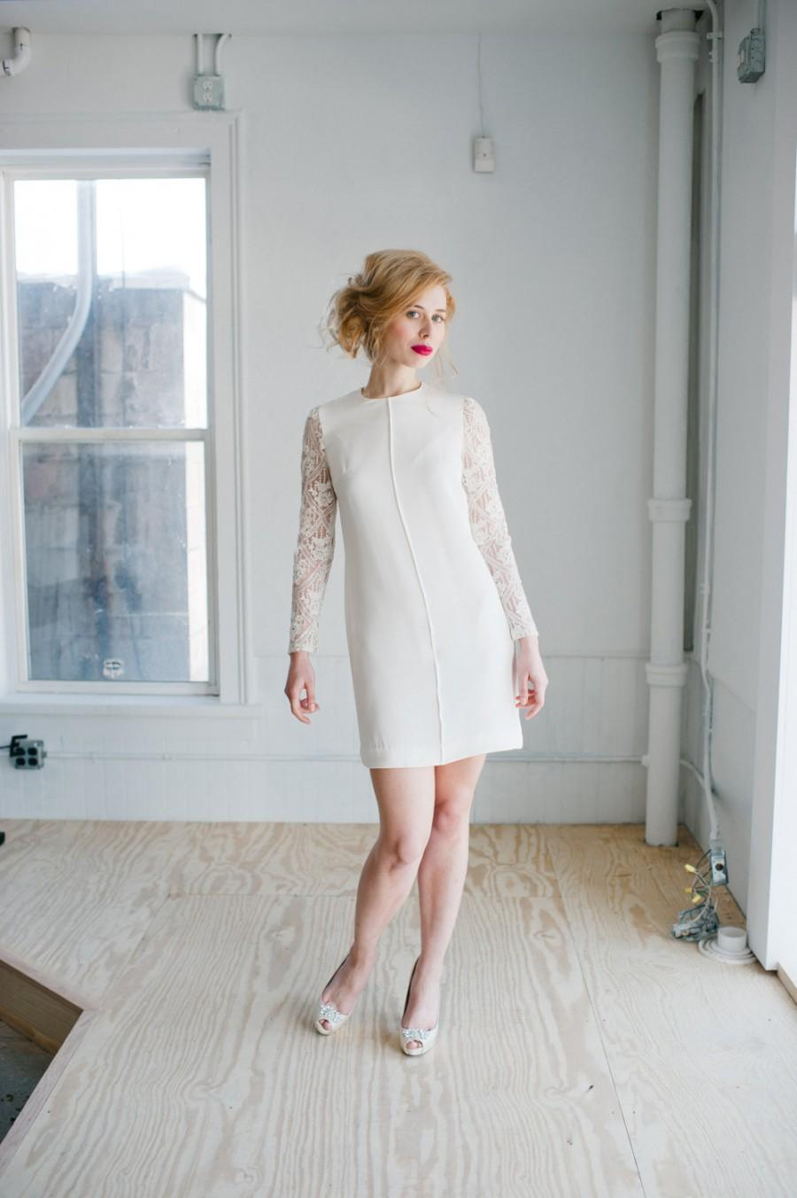 Wedding - Patsy Wedding Dress; Handmade Bridal Dress, modern sheath in silk with beaded lace sleeves