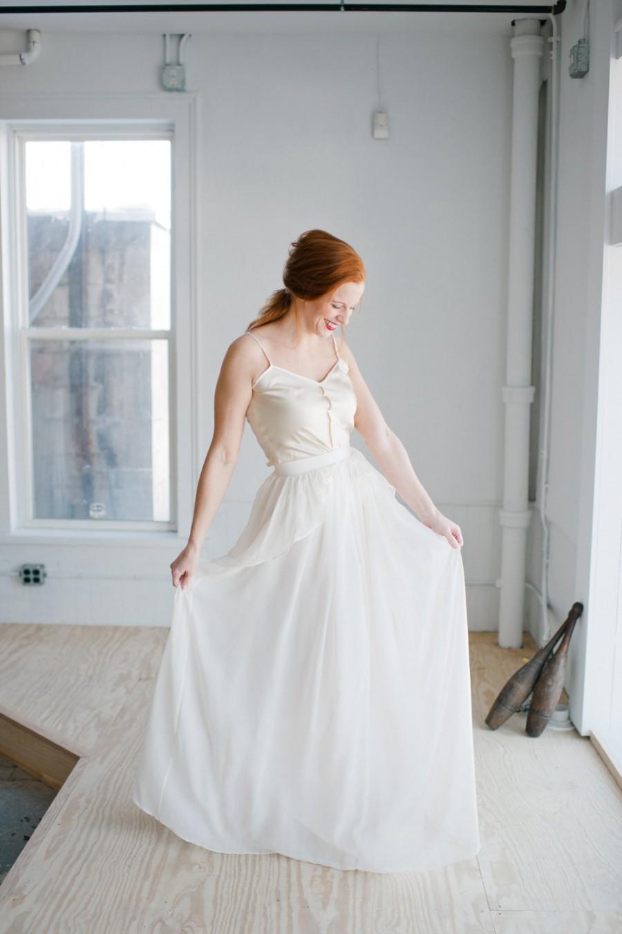 Wedding - Cecily Wedding Dress; Handmade Wedding Dress, beautiful chiffon skirt with cascading peplum and shiny silky camisole