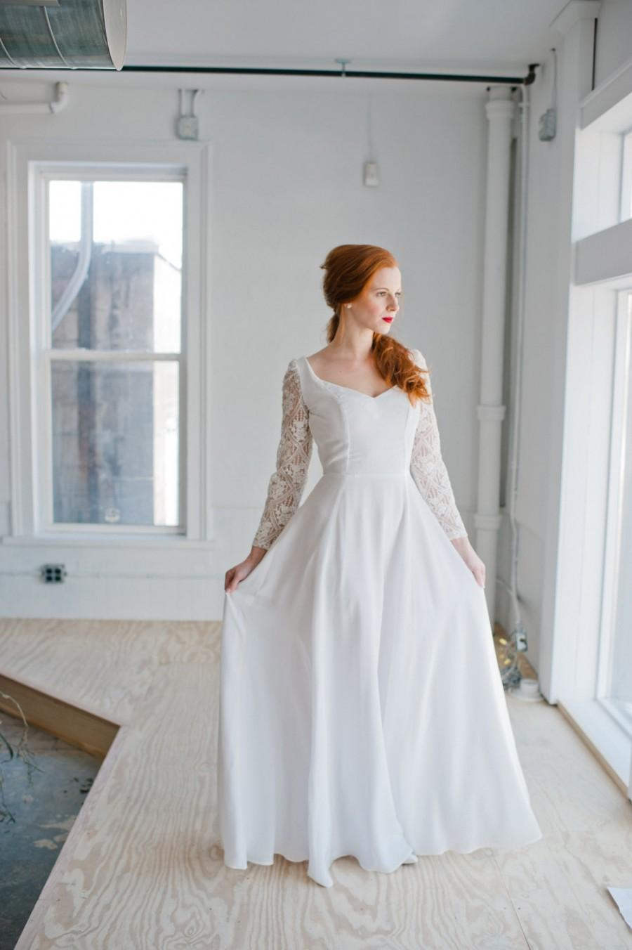 Wedding - Astrid Wedding Dress; Handmade Wedding Dress, elegant silk gown with wide v-neck & stunning beaded lace sleeves