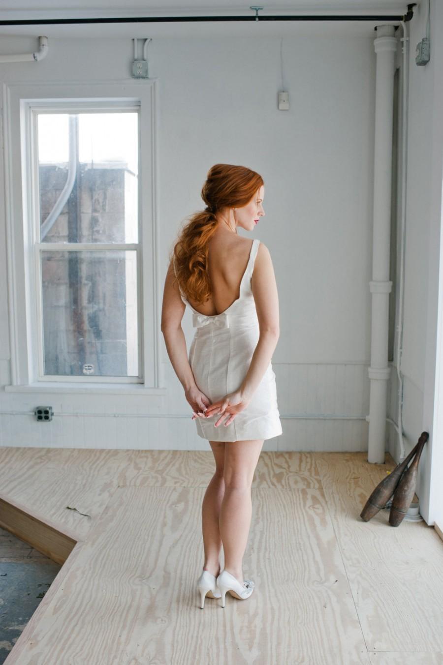 Wedding - Elsa Wedding Dress; Handmade Wedding Dress, charming mini dress with open back and cute bow