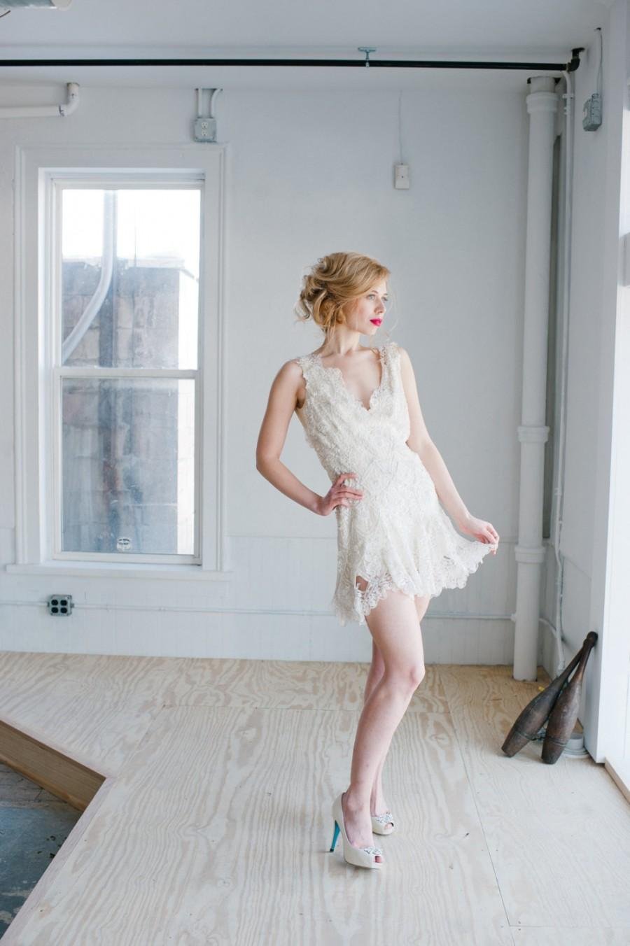Boda - Odette Beaded Wedding Dress; Handmade Wedding Dress, gorgeous bridal beaded lace mini dress with plunging back