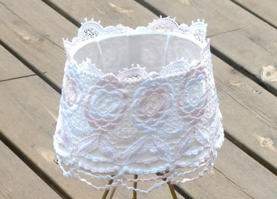 Wedding - Shabby chic lampshade, Table decor, Living room light, Rustic floral lace ,Fabric cottage livingroom light , chic lamp, French country lamp.