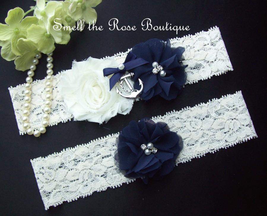 Mariage - Nautical Wedding Anchor Garter Set,Navy Blue Sailor Wedding Garter set