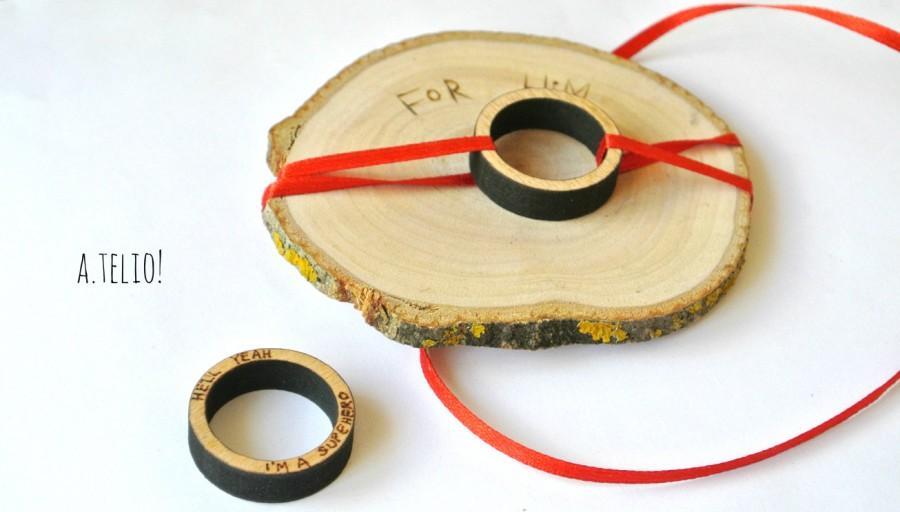 Wooden Men S Ring Wood Ring Diamond Custom Pyrography