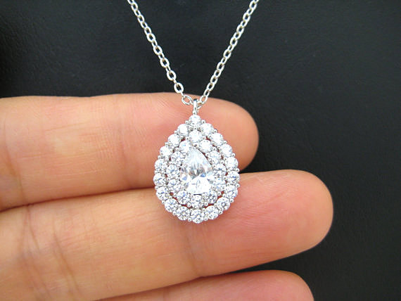 Свадьба - Cubic Zirconia Teardrop Necklace Halo Style Necklace Sterling Silver Chain Bridal CZ Necklace Wedding Jewelry Bridesmaids Necklace (N062)