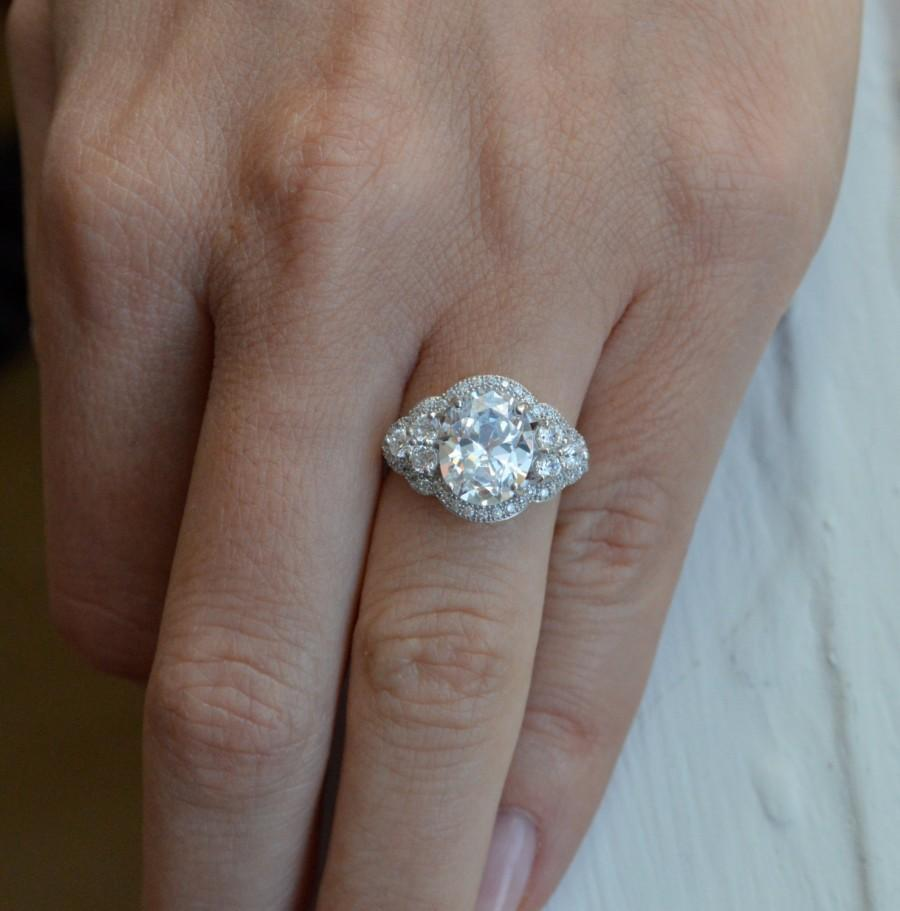 Wedding - Classic Oval Shaped Engagement Setting - 14k White Gold Art Deco Ring - Diamond Engagement Ring