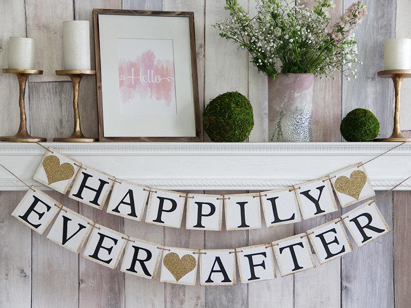 Свадьба - Happily Ever After Banner, Happily Ever After Sign, Happily Ever After, Wedding Banner, Wedding Sign Wedding Garland, Bridal Shower Banner