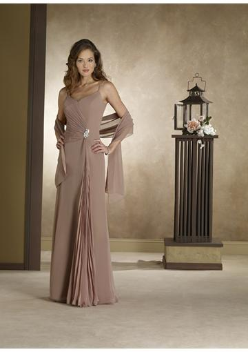 Wedding - Spaghetti Straps Sleeveless Shawl Chiffon Floor Length