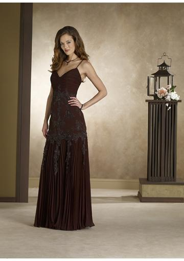 Mariage - Spaghetti Straps Appliques Brown Sleeveless Chiffon Ruched Floor Length