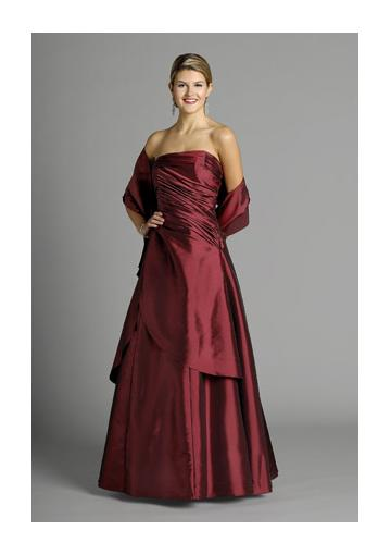Свадьба - Sleeveless Shawl Strapless Satin Burgundy Floor Length