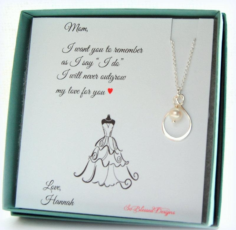 Mother Of The Bride Gift Groom Sterling Infinity Necklace Jewelry Pearl Wedding