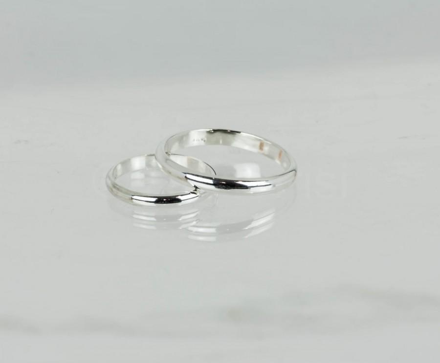 His And Her Wedding Band Set Sterling Silver Bands Matching Wedding Rings