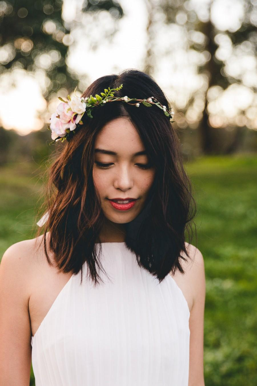 Blossom and forest asymmetrical bridal wedding flower crown blossom and forest asymmetrical bridal wedding flower crown florette multi colour bohemian floral headpiece flower crown dhlflorist Images