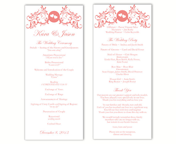 Wedding - Wedding Program Template DIY Editable Text Word File Instant Download Program Red Program Heart Program Printable Wedding Program 4x9.25