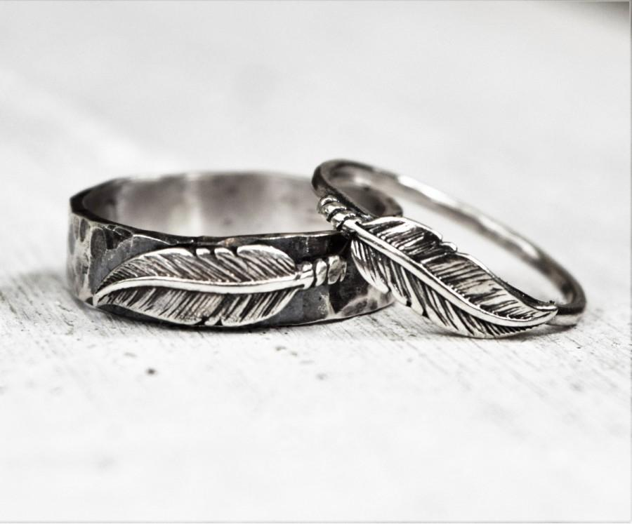 Wedding - Sterling Silver Boho Feather Rings - Pair - Set - His and Hers -  BFF - Unisex - Bohemian - Woodland - Unique Wedding Bands - Gift For Her
