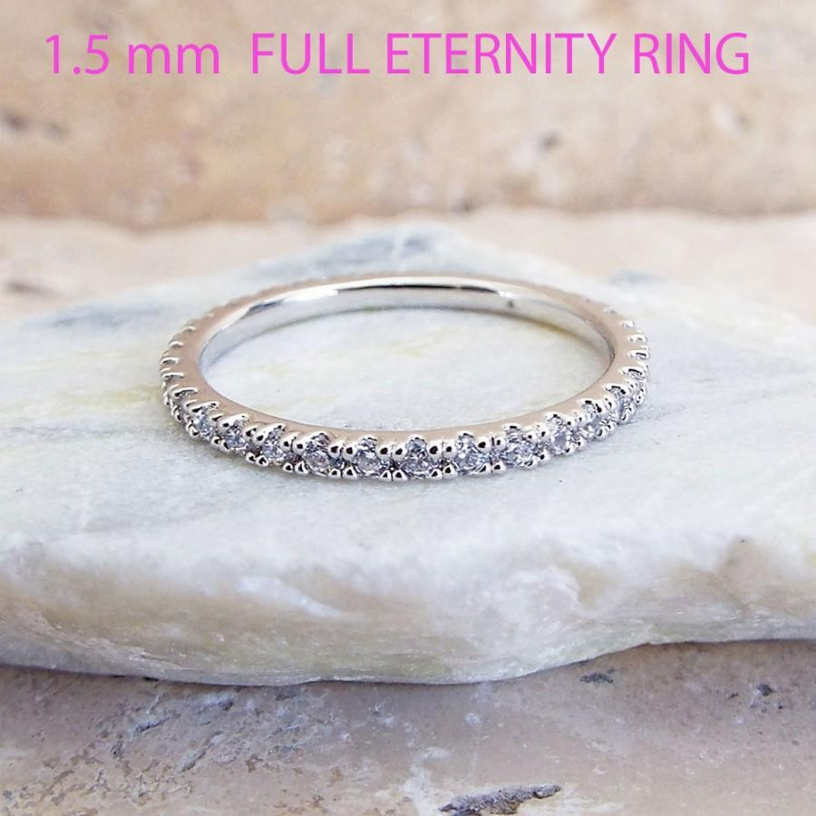 Mariage - CZ thin Wedding Band Full Eternity 1.5 mm Thin Band White Gold Micro Pave High Quality CZ Diamond Stacking Ring Gold & Rhodium plating