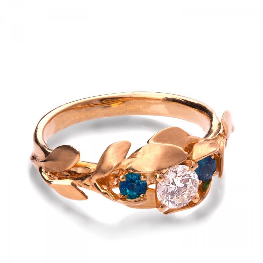 زفاف - Leaves Engagement Ring, 18K Rose Gold engagement ring, Sapphire ring, Conflict free, 3 Stone Ring, leaf ring, September Birthstone, 8