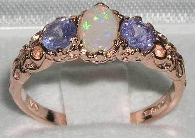 14k Rose Gold Natural White Opal Amp Tanzanite Engagement