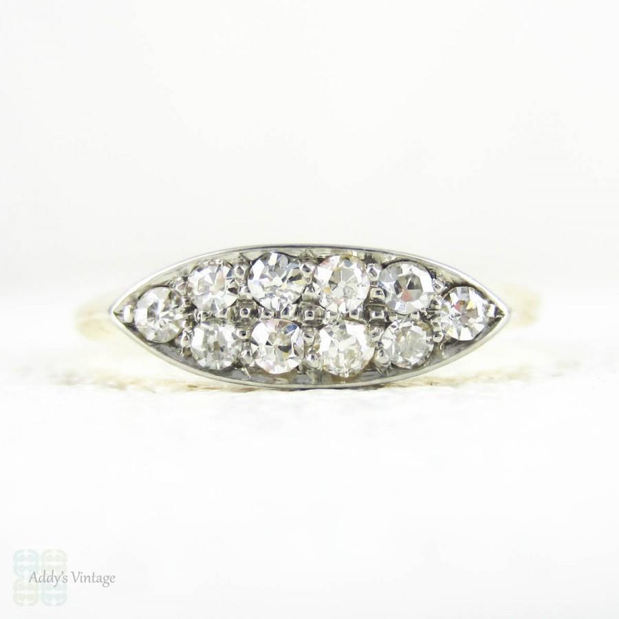 زفاف - Antique Diamond Double Row Ring, Pave Set Old Mine Cut Diamonds in Tapered Boat Shape Design. 18 Carat Yellow Gold & Platinum, Circa 1890s